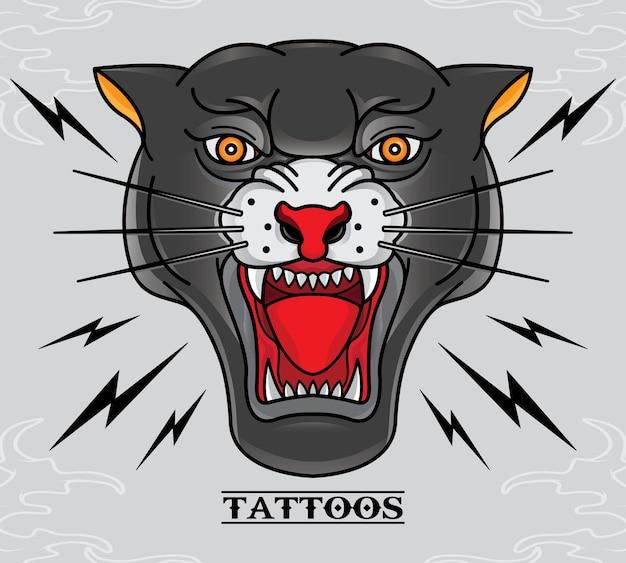 Vieille école tatouage panthère noire