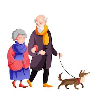 Vieille famille marchant dans la rue automne avec illustration de dessin animé de chien.