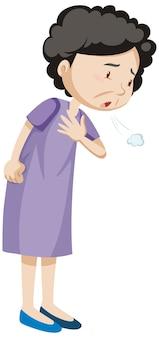 Vieille femme ayant des douleurs thoraciques