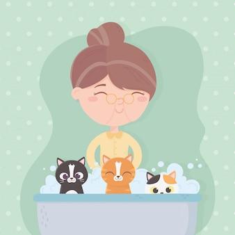 Vieille femme, baigner, bulles, chats, dans, les, baignoire, illustration