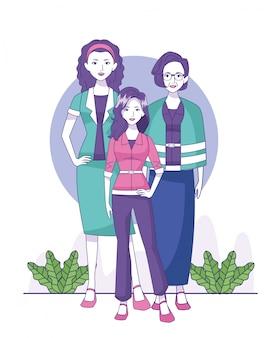Vieille femme, femme et adolescent fille debout