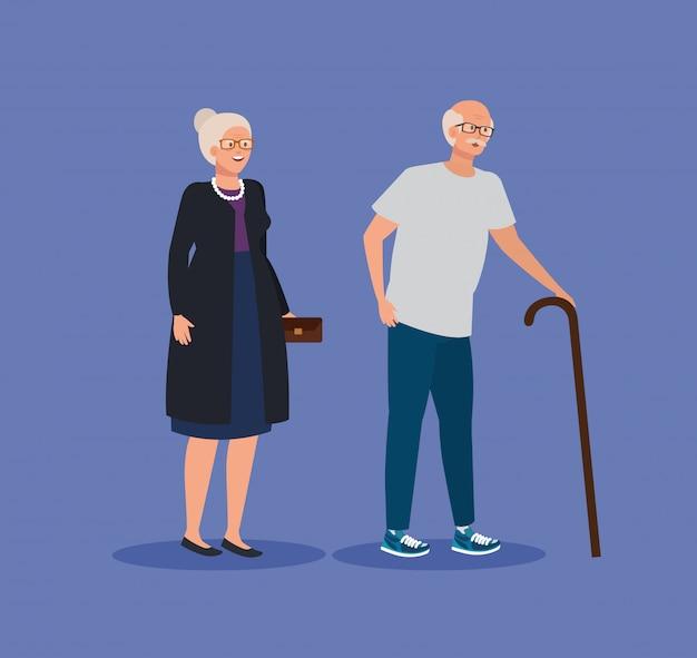 Vieille femme et homme couple avec bâton de marche
