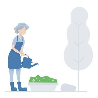 Vieille femme jardinage