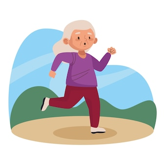 Vieille femme qui court dans le parc personnage senior actif