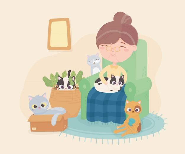 Vieille femme, séance chaise, à, elle, chat, et, autres, jouer, salle, illustration