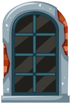 Vieille fenêtre avec cadre en briques