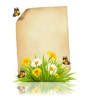 Vieille feuille de papier avec des fleurs printanières et des papillons. vecteur.