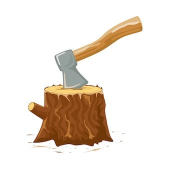 Vieille hache rouillée avec manche en bois coincé dans la souche