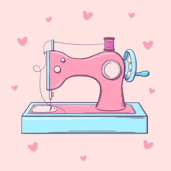 Vieille machine à coudre rose dessinée à la main sur fond rose avec des coeurs.