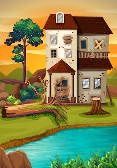 Vieille maison au bord de l'étang