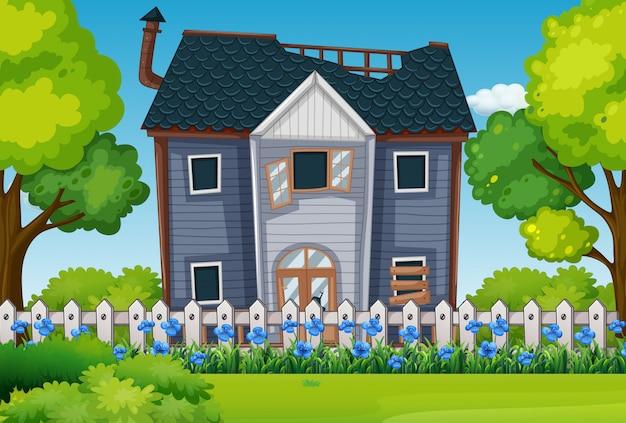 Vieille maison avec beau jardin
