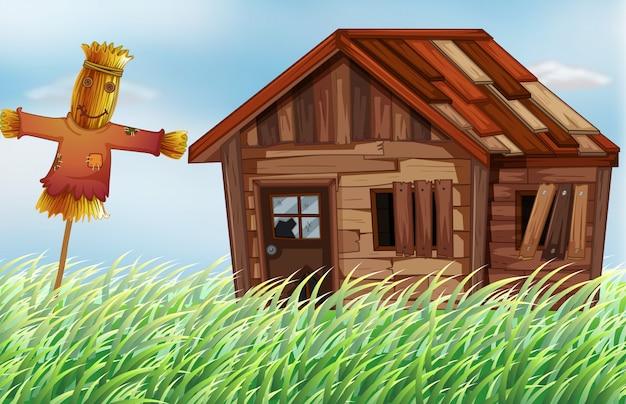 Vieille maison en bois sur le terrain