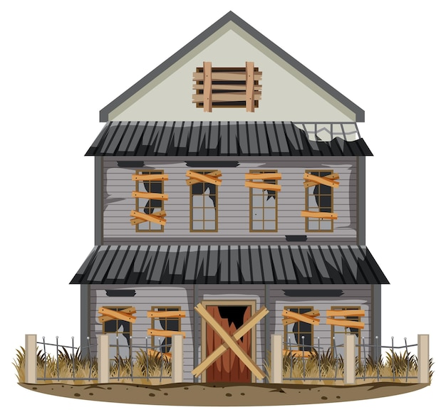 Vieille maison cassée d'isolement dans le rural