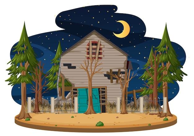Une vieille maison effrayante dans les bois