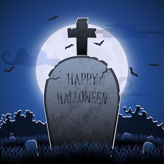 Vieille pierre tombale la nuit avec happy halloween word in cimetière