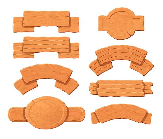 Vieille planche de bois et ensemble de panneaux vierges.