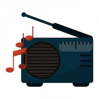 Vieille radio stéréo avec des notes de musique