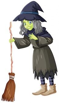 Vieille sorcière avec balai tordu