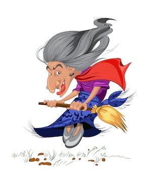 Vieille sorcière avec un dessin animé de balai