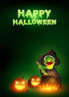 Vieille sorcière remuant la potion dans le chaudron, illustration vectorielle pour le thème d'halloween