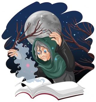 Vieille sorcière avec sort et livre style cartoon isolé sur fond blanc