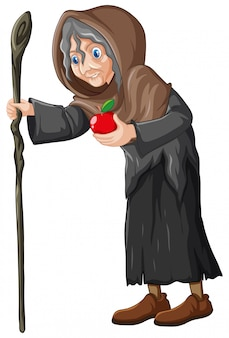 Vieille sorcière avec style de dessin animé de pomme rouge isolé sur fond blanc
