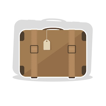 Vieille valise vintage avec ceinture en cuir. illustration vectorielle en style cartoon plat.