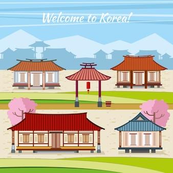 Vieille ville coréenne avec des maisons traditionnelles. maison avec arc, invitation asie, village ou ville oriental, culture orientale traditionnelle