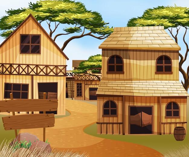 Vieille ville de l'ouest avec maisons et magasins