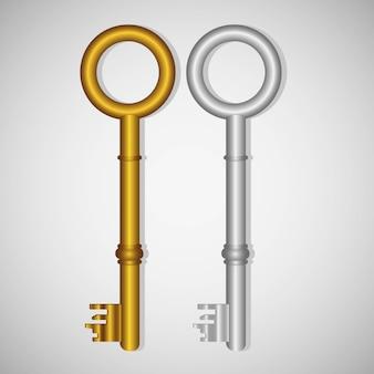 Vieilles clés en or et argent sur dégradé