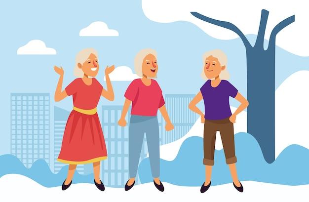 Vieilles femmes personnages seniors actifs.