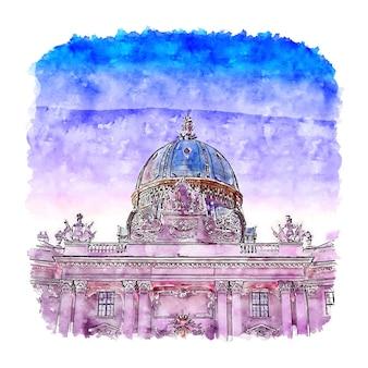 Vienne autriche aquarelle croquis illustration dessinée à la main
