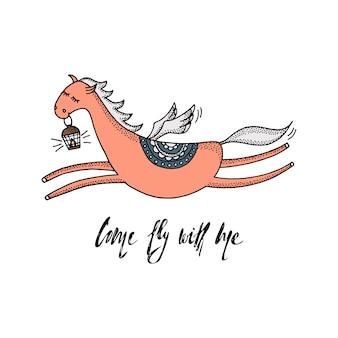 Viens voler avec moi - cite et pegasus volant mignon avec des ailes et une lampe de poche.