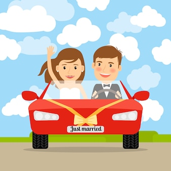 Vient de se marier en voiture rouge