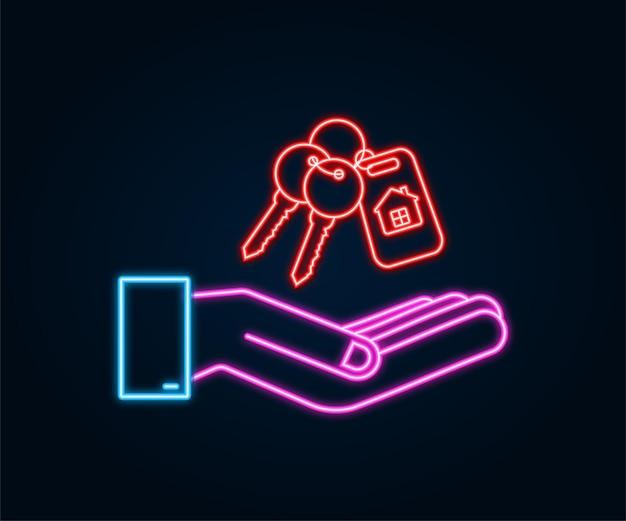 Vient de vendre les clés remise de main sur fond blanc. illustration vectorielle de stock. icône néon.