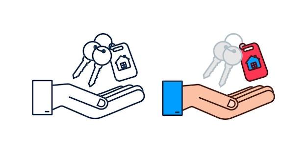 Vient de vendre les clés remise de main sur fond blanc. illustration vectorielle de stock.
