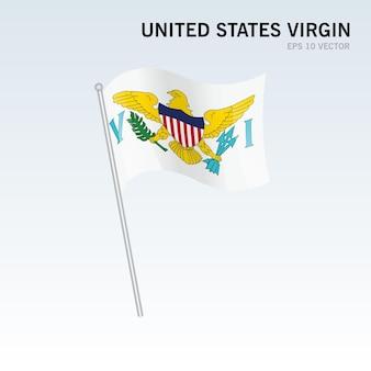 Vierge des états-unis agitant le drapeau isolé sur gris