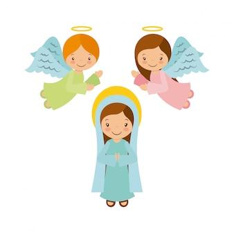 Vierge marie avec des anges