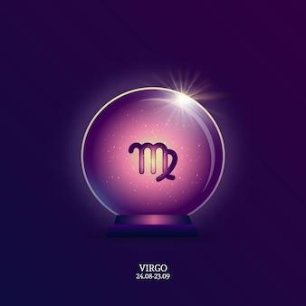 Vierge. signe de l'horoscope. icône du zodiaque en boule magique
