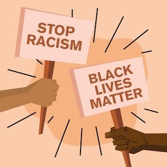 Les vies noires comptent et arrêtent la conception de bannières de racisme du thème de la justice de protestation et du racisme.