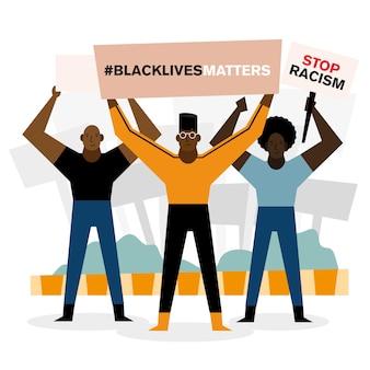 Les vies noires comptent arrêter les bannières de racisme et les hommes conçoivent le thème de la protestation.