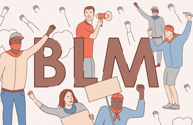 Les vies noires comptent le concept de bannière de contour de dessin animé de vecteur. tolérance, droits de l'homme du concept d'affiche des noirs.
