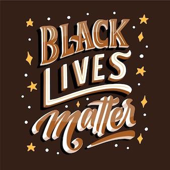 Les vies noires comptent le lettrage avec des étoiles