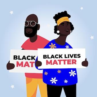 Les vies noires comptent avec des pancartes