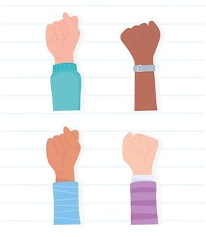 Les vies noires comptent pour la protestation, la diversité des mains levées, la campagne de sensibilisation contre la discrimination raciale