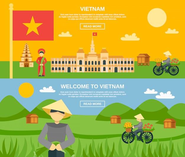 Vietnam bannière ensemble
