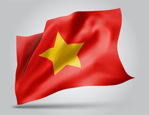 Vietnam, drapeau vectoriel avec des vagues et des virages ondulant dans le vent sur fond blanc.