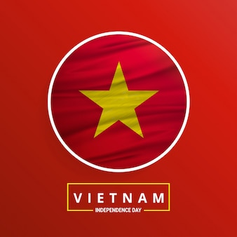 Vietnam independence day waving flag sur fond rouge abstrait