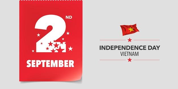 Vietnam joyeux jour de l'indépendance carte de voeux bannière vector illustration
