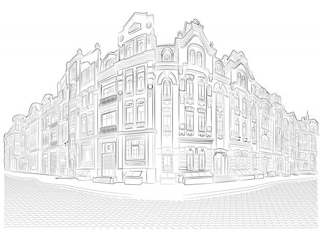 Vieux bâtiments détaillés sur le dessin vectoriel de coin de rue